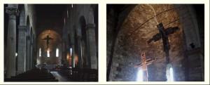 A sinistra: la croce dipinta di San Michele degli Scalzi e la sua ombra sulla superficie dell'abside, viste dal fondo della navata. L'ombra della croce tende ad apparire convessa verso l'osservatore, a dispetto della concavità della superficie absidale sulla quale si disegna. L'effetto non si verifica nella visione da vicino, quando si fa evidente la concavità dell'abside (a destra)