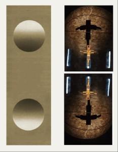 A sinistra: la stessa immagine sferica, diritta (in alto) e rovesciata (in basso) tende ad apparire alla maggior parte degli osservatori come una semisfera convessa in alto e concava in basso. Il rovesciamento dell'immagine della chiesa di San Michele degli Scalzi (a destra) tende a produrre una simile mutazione dell'effetto di profondità nella visione dell'ombra (convessa in alto e concava in basso).