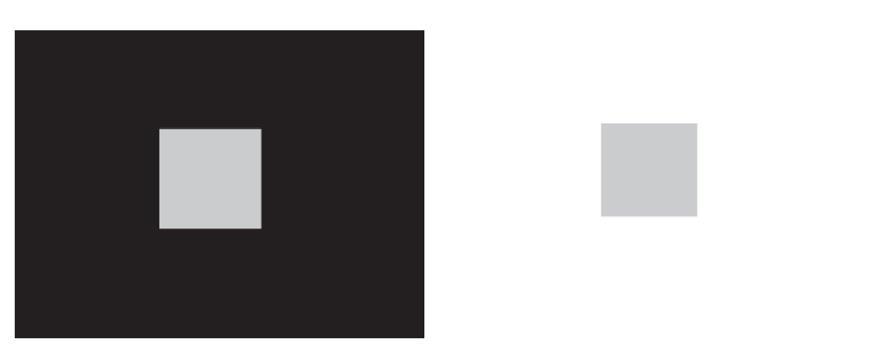 Fig. 1. Lo stesso quadrato centrale grigio è collocato, a sinistra, su uno sfondo scuro e, a destra, su uno sfondo chiaro. Per l'effetto di contrasto visivo il quadrato appare chiaro a sinistra e scuro a destra.