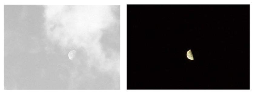 """Fig. 3. A sinistra la luna osservata di giorno, non appare significativamente più brillante delle nuvole vicine, mentre di notte, risulta molto luminosa per l'effetto di contrasto visivo dovuto all'oscurità del cielo. Ecco il confronto nelle parole che Galileo pone in bocca a Simplicio nel Dialogo sopra i Massimi sistemi: """"Cosí ho io osservato alcune volte di giorno tra certe nugolette la Luna non altramente che una di esse biancheggiante; ma la notte poi si mostra splendentissima"""". A proposito della luna notturna è da notare comunque che l'effetto di contrasto è molto più marcato nelle condizioni reali di osservazione che nelle immagini fotografiche. Gli astronomi moderni sanno che la luna è in effetti uno dei corpi più oscuri del sistema solare, riflettendo in media poco più del 10 % della luce solare (contro il 75 % di Venere e circa il 30 % della terra). Più scuri della luna sono però i nuclei cometari che riflettono solo circa il 4 % della luce incidente."""