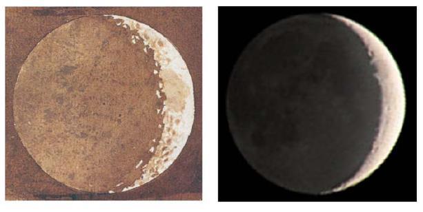 Fig. 4. A sinistra, uno degli acquerelli dipinti da Galileo per illustrare le sue osservazioni telescopiche, da cui appare chiaramente la debole luce che illumina la parte oscura della luna; a destra, una foto moderna che coglie lo stesso fenomeno.