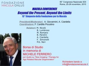 Locandina del Simposio Macula con annuncio della borsa di studio in memoria di Michele Ferrero